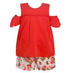 Little Girls Red Cold-Shoulder Top Flower Print 2 Pc Shorts Outfit 2T-6X