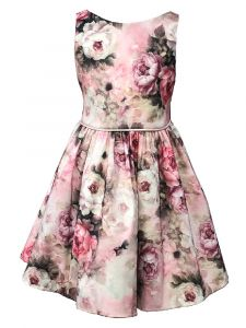 Petite Adele Big Girls Dusty Rose Floral Ribbon Junior Bridesmaid Dress 8-12