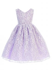 Ellie Kids Girls Multi Colors Lace Embroidered Flower Girl Dress 4-14