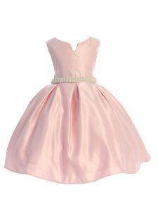 Ellie Kids Rose Pink Pearl Rhinestone Junior Bridesmaid Flower Girl Dress 8-14
