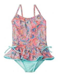 Azul Little Girls Pink Paisley Fiesta Ruffle Trim One Piece Swimsuit 2T-6