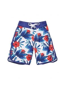 Azul Big Boys White Red Blue Hawaii Print Back Pocket Swim Shorts 8-14