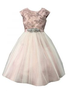 Petite Adele Big Girls Mauve Silk Glitter Tulle Junior Bridesmaid Dress 8-12