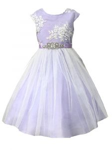 Petite Adele Big Girls Lilac Silk Glitter Tulle Junior Bridesmaid Dress 8-12