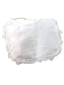 Little Things Mean A Lot Baby Girls White Matte Satin Screened Cross Bib