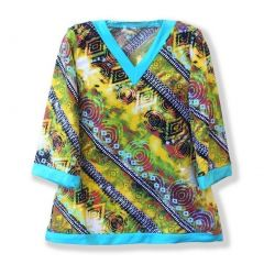 Azul Big Girls Yellow Blue Abstract Eclectic Print Native Threads Kaftan 8-14