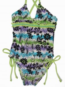 2B Real Little Girls Green Blue Tie Dye Floral Print One Piece Swimsuit 4-6X