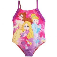 Disney Little Girls Pink Purple Princesses Print One Piece Swimsuit 2-4T