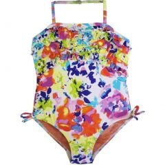 Little Girls White Multi Colored Floral Print Ruffles One Piece Swimsuit 4-6X