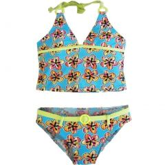 2B Real Little Girls Sky Blue Floral Print Belt Two Piece Tankini Swimsuit 4-6X