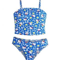 Hello Kitty Little Girls Blue White Flowers Two Piece Tankini Swimsuit 4-6X