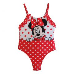 Disney Baby Girls White Red Polka Dots Minnie Ruffles One Piece Swimsuit 12-24M