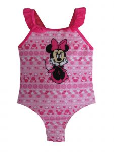 Disney Little Girls Pink Minnie Mouse Swimsuit 12-24M