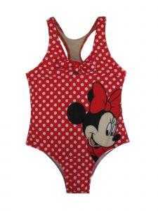 Disney Little Girls Red Minnie Mouse Dotted Racer Back 1 Pc Swimsuit 4-6X