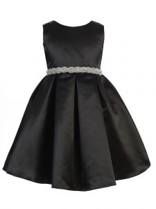 Ellie Kids Little Girls Black Dull Satin Rhinestone Sash Christmas Dress 4-6
