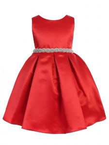 Ellie Kids Girls Black Dull Satin Rhinestone Sash Tea Length Christmas Dress