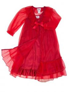 Laura Dare Little Girls Red Frilly Peignoir Nightgown Robe Scrunchie Set 2T-6X