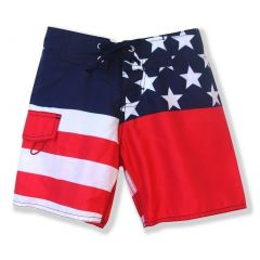 Azul Little Boys Blue Red American Flag Print Old Glory Board Shorts 2-6