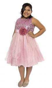 Kids Dream Big Girls Dusty Rose Sequin Tulle Plus Size Party Dress 16.5-20.5