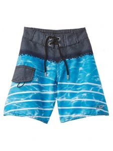 Azul Big Boys Blue Ocean Waved Print Drawstring Tie Swim Boardshorts 8-14