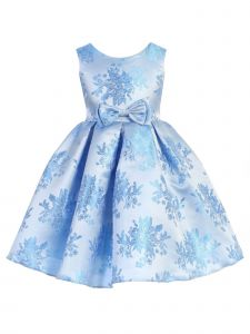 Ellie Kids Girls Multi Color Floral Jaquard Bow Flower Girl Dress 4-14