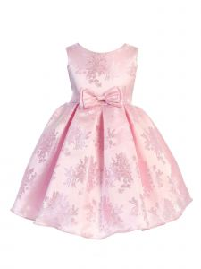 Ellie Kids Big Girls Pink Floral Jaquard Bow Junior Bridesmaid Dress 8-14