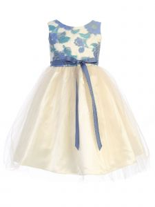 Ellie Kids Girls Multi Color Embroidered Tulle Flower Girl Dress 4-14