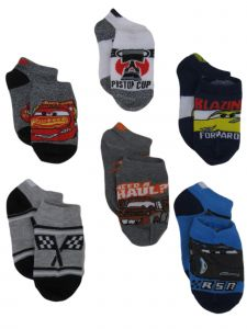 Disney Boys Multi Color Cars 6 Pack Banded Ankle Low Cut Socks 10-4
