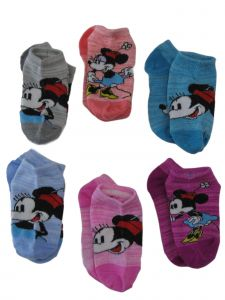 Disney Girls Multi Color Classic Minnie Mouse 6 Pack Ankle Low Cut Socks 10-4