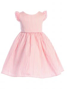 Ellie Kids Girls Multi Color Angel Sleeves Stripe Taffeta Flower Girl Dress 4-14