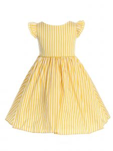 Ellie Kids Big Girls Yellow Angel Sleeves Satin Junior Bridesmaid Dress 8-14