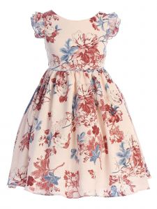 Ellie Kids Girls Multi Color Angel Sleeves Satin Flower Girl Dress 4-14