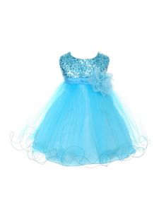 Kids Dream Baby Girls Aqua Sequin Illusion Tulle Flower Girl Dress 6-24M