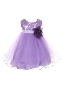 Kids Dream Baby Girls Lavender Sequin Illusion Tulle Flower Girl Dress 6-24M