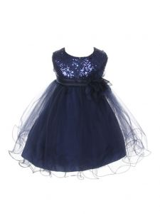 Kids Dream Baby Girls Navy Sequin Illusion Tulle Flower Girl Dress 6-24M