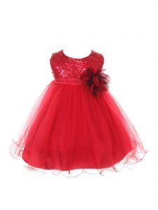 Kids Dream Baby Girls Red Sequin Illusion Tulle Flower Girl Dress 6-24M
