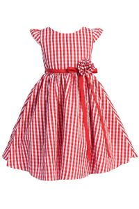 Little Girls Red Plaid Poli Poplin Floral Ribbon Special Occasion Dress 4-6