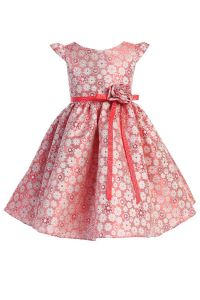 Little Girls Coral Satin Jacquard Floral Ribbon Special Occasion Dress 4-6