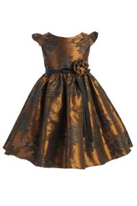 Little Girls Gold Satin Jacquard Floral Ribbon Special Occasion Dress 4-6