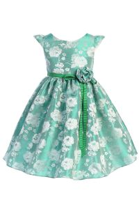Little Girls Green Satin Jacquard Floral Ribbon Special Occasion Dress 4-6