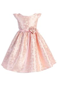 Big Girls Pink Satin Jacquard Floral Ribbon Special Occasion Dress 8-14