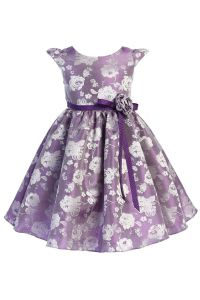 Big Girls Purple Satin Jacquard Floral Ribbon Special Occasion Dress 8-14