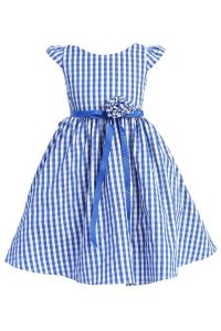 Little Girls Blue Plaid Poli Poplin Floral Ribbon Special Occasion Dress 4-6