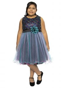 Kids Dream Big Girls Teal Blue Sequin Tulle Plus Size Christmas  Dress 16.5-20.5