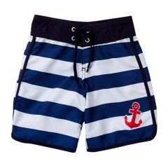 Azul Big Boys Blue White Horizontal Stripe Drawstring Popeye Board Shorts 14