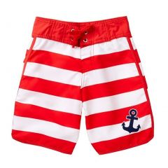Azul Big Boys Red White Stripe Popeye Drawstring Tie Board Shorts 12-14