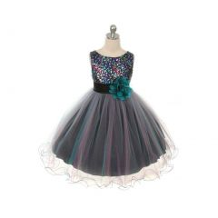 Kids Dream Little Girls Teal Multi Sequin Tulle Christmas Dress 4- 14