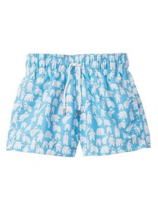 Azul Little Boys Turquoise Polar Bear Print Drawstring Tie Swimwear Shorts 2-6
