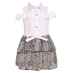 Real Love Little Girls White Cold-Shoulder Ruffle Animal Pattern Dress 2-4T