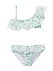 Azul Little Girls Green Perfectly Prim One Shoulder Bikini 2 Pc Swimsuit 4-6